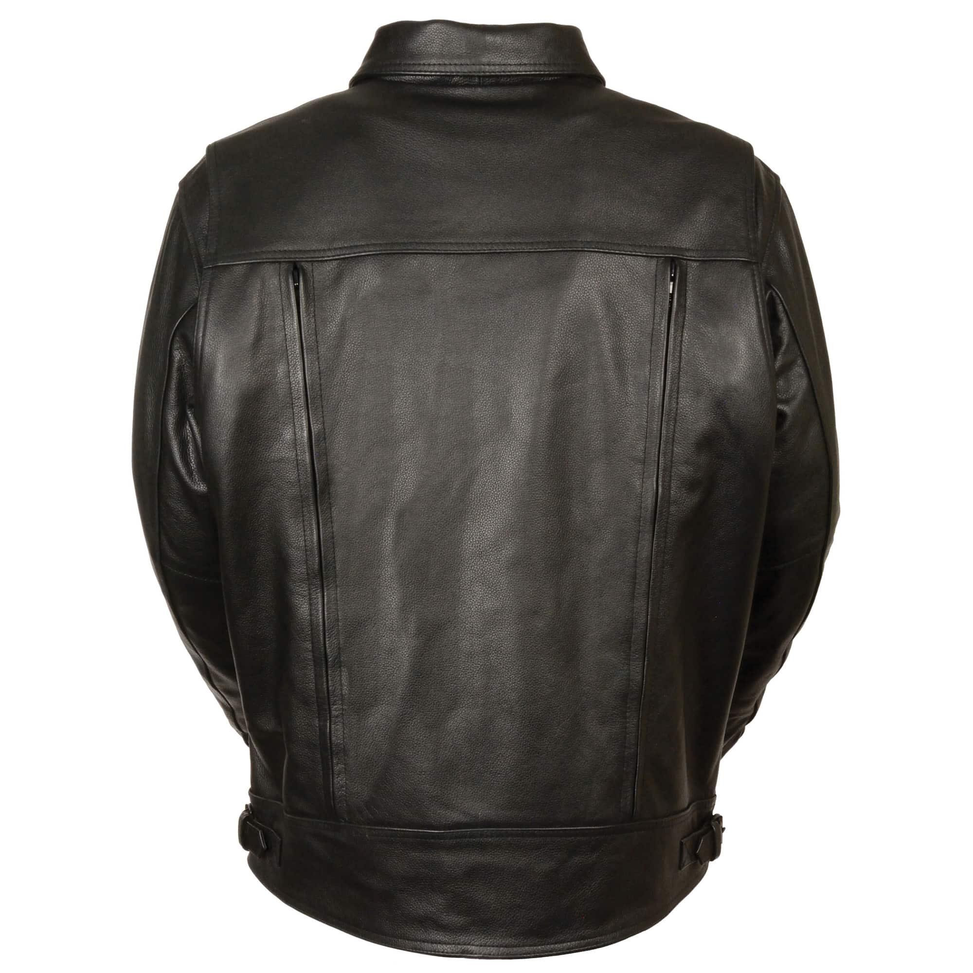 Mens Leather Utility Pocket Vented Cruiser Jacket
