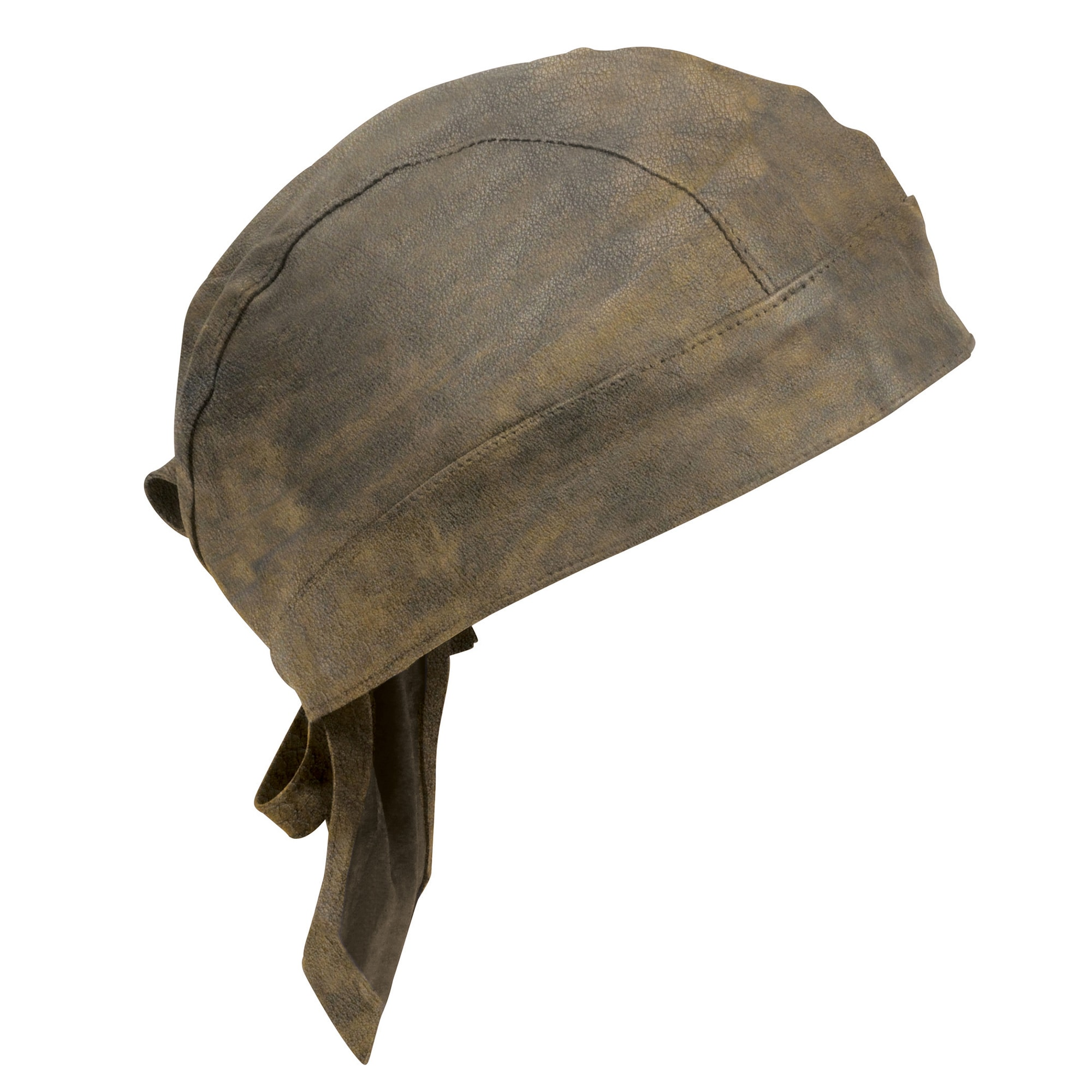 Distressed Brown Leather Skull Cap - Milwaukeee Leather