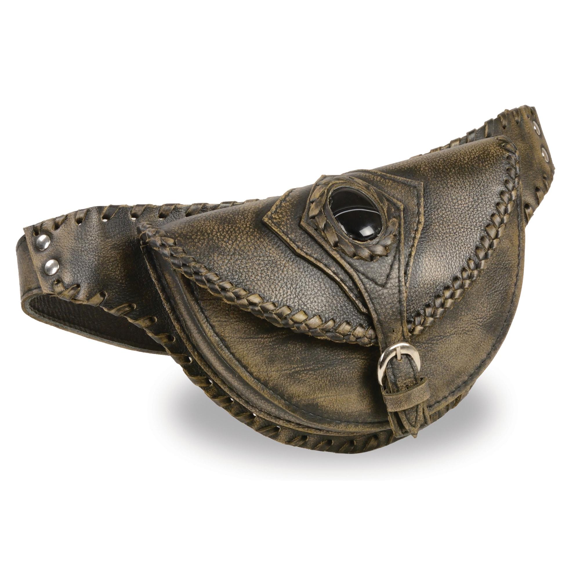 Unisex Hand Braided Leather Hip Bag W Stone Inlay Amp Gun