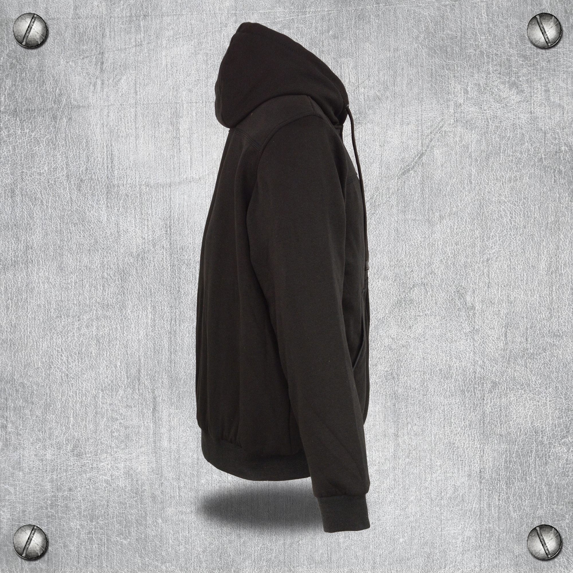 Small Milwaukee Leather Performance MPM1713 Grey Mens Zipper Front Heated Hoodie with Front and Back Heat