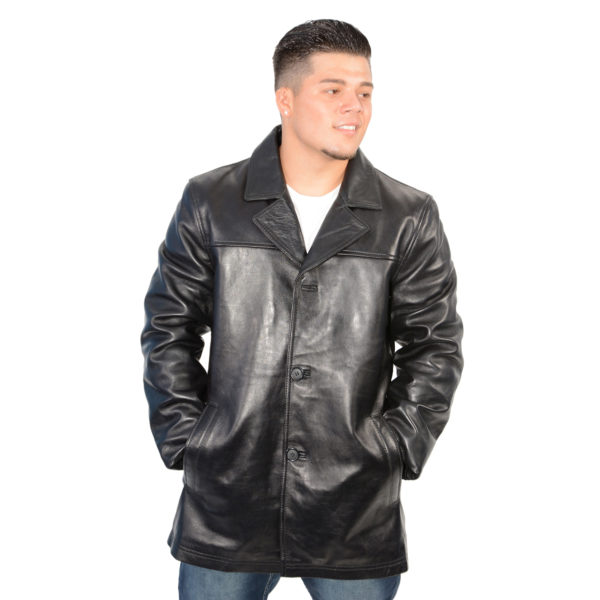 Men S Classic Four Button Front Car Coat Milwaukeee Leather