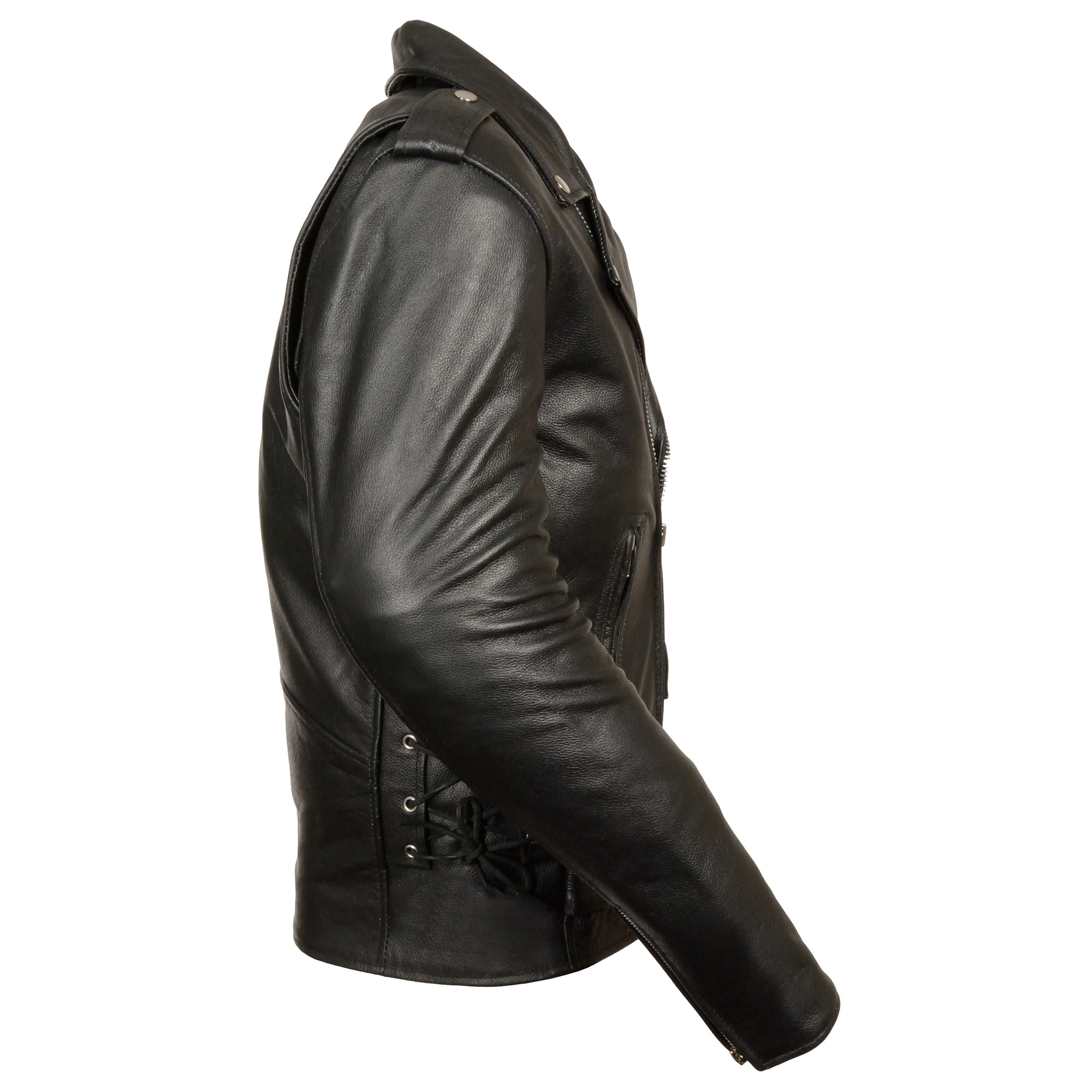 58 Milwaukee Leather SH1315 Mens Black Leather Classic Side Lace Biker Vest