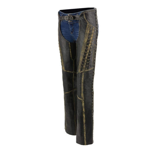 3X-Small Milwaukee Leather ML1179 Ladies Black and Purple Leather Chaps with Wing Embroidery